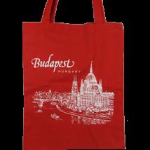VÁSZONTÁSKA SZINES ALAPON BUDAPEST,PARLAMENT, Piros