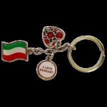 KULCSTARTÓ FÉM ZÁSZLÓ+KÖR+SZÍV I LOVE HUNGARY MATYÓS