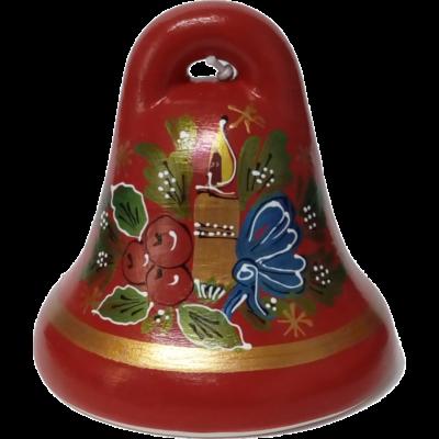 KÉKFESTŐS CSENGŐ Karácsonyi mintával - piros