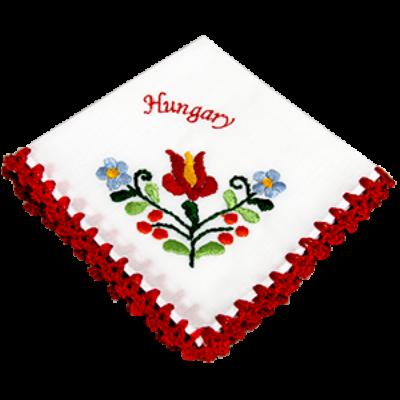 ZSEBKENDŐ HÍMZETT CAKKOS Hungary felirattal, piros, csomagolt