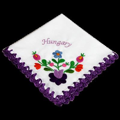 ZSEBKENDŐ HÍMZETT CAKKOS Hungary felirattal, lila, csomagolt
