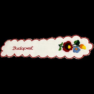 KÖNYVJELZŐ HÍMZETT KALOCSAI Budapest felirattal, piros