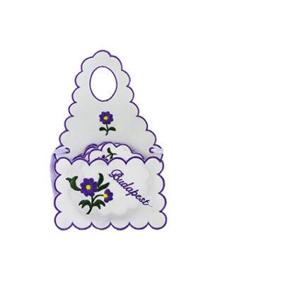 ÜVEGKÖTÉNY+ALÁTÉT HÍMZETT Budapest felirattal, lila, csomagolt