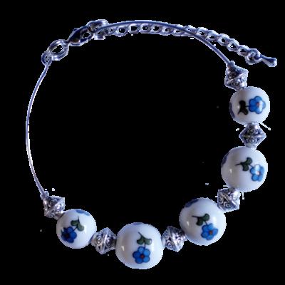 KARKÖTŐ GYÖNGY - Kék virágos