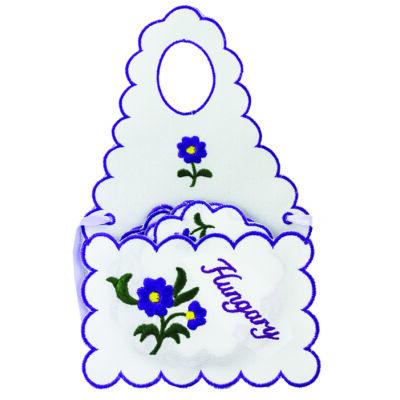ÜVEGKÖTÉNY+ALÁTÉT HÍMZETT Hungary felirattal, lila, csomagolt