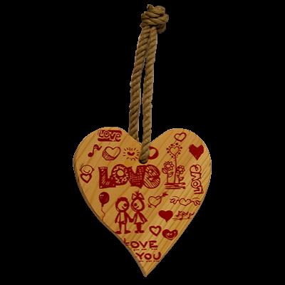 SZÍVECSKE FA, SZEZONÁLIS  DEKORÁCIÓVAL Love