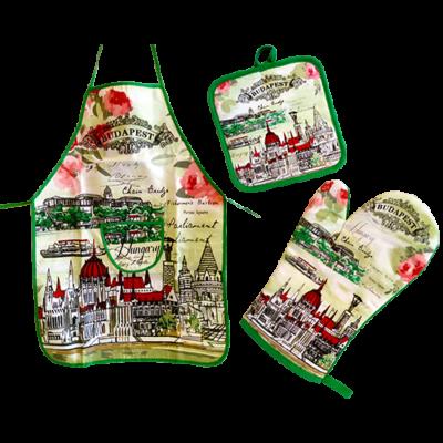 KÖTÉNYSZETT BP. KESZTYŰ+KÖTÉNY+ALÁTÉT BUDAPEST,HUNGARY - Zöld, rózsás