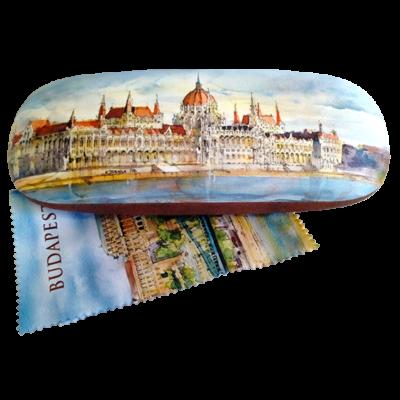 SZEMÜVEGTARTÓ L. BUDAPEST GRAFIKÁKKAL, TÖRLŐKENDŐVEL-Parlament