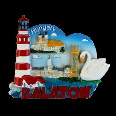 HŰTŐMÁGNES KEPES POLIRESIN-Balaton, hattyú+világítótorony